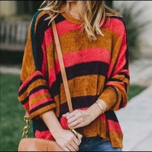 Free People All About You Chenille Striped Sweater